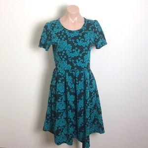 LulaRoe Amelia Dress Black & Blue Floral Pattern